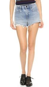 Denim x Alexander Wang Bite High Rise Frayed Shorts