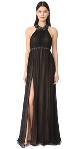 Marchesa Notte Chiffon Halter Gown