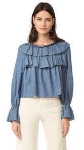 See by Chloe Ruffled Chambray Top