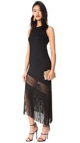 Haute Hippie Asymmetrical Fringe Tank Dress