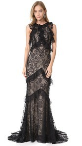 Monique Lhuillier Sleeveless Ruffle Gown