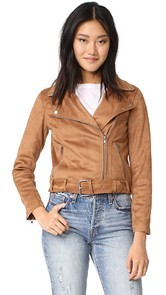 cupcakes and cashmere Dixie Faux Suede Moto Jacket