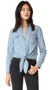 cupcakes and cashmere Ayres Tie Front shirt
