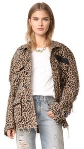 R13 Shredded Leopard Abu Jacket