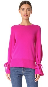 Adam Lippes Bell Sleeve Crew Neck Sweater