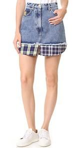 Natasha Zinko Denim Combo Mini Skirt