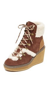 See by Chloe Eileen Wedge Shearling Booties
