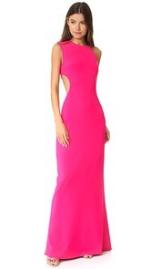 Halston Heritage Asymmetrical Gown with Back Cutout