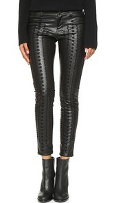 Blank Denim Vegan Leather Embroidered Skinny Pants