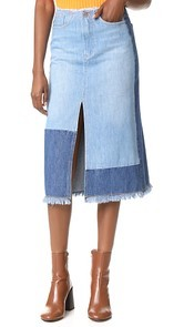 Edition10 Colorblock Denim Skirt