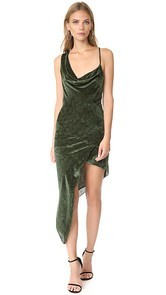 Michelle Mason Asymmetrical Bias Velvet Maxi Dress