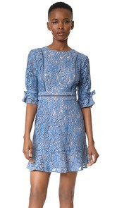 WAYF Rene Tie Sleeve Open Back Lace Mini Dress