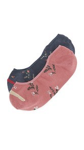 Madewell Floral Pattern No Show Sock 2 Pack