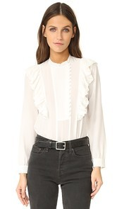 Rebecca Taylor Long Sleeve Silk Ruffle Top