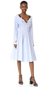 Natasha Zinko Cotton Pinstripe Shirting LS Midi Shirt Dress
