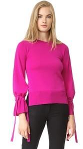Adam Lippes Bell Sleeve Crew Neck Sweater