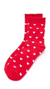 Plush Heart Rolled Fleece Socks