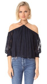 Rebecca Taylor Off Shoulder Embroidered Top