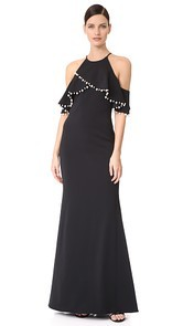 Badgley Mischka Collection Imitation Pearl Trim Gown