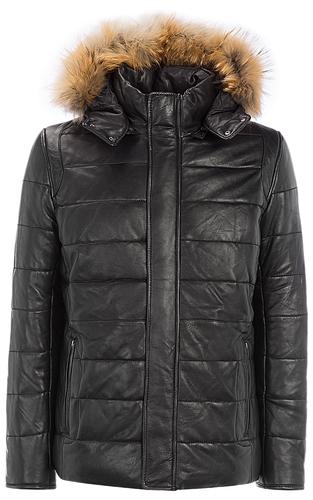 утепленная кожаная куртка с мехом енота
