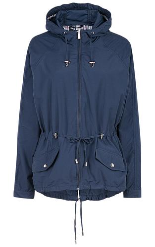 Женская синяя куртка с поясом