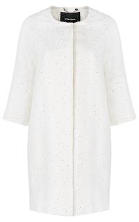 Белое пальто без воротника La Reine Blanche