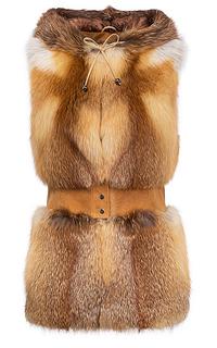 Жилет из меха лисы с капюшоном V&g