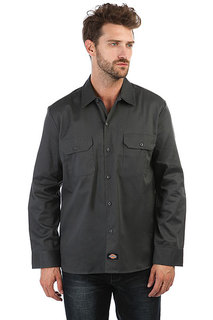 Рубашка Dickies Long Sleeve Slim Work Shirt Charcoal Grey
