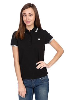 Поло женское Fred Perry Twin Tipped Shirt Black/White
