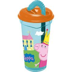 Стакан пластиковый с соломинкой и крышкой 400 мл., Свинка Пеппа Stor