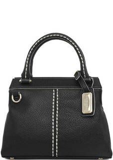 Кожаная сумка с контрастной строчкой Plinio Visona