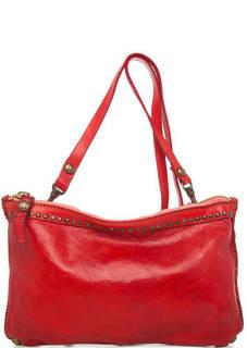 Красная кожаная сумка через плечо Campomaggi