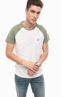Хлопковая футболка с контрастными вставками Tom Tailor Denim