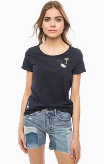 Синяя хлопковая футболка с нашивками Tom Tailor