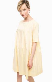 Желтое платье из хлопка расклешенного силуэта Think Chic