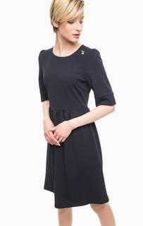 Синее платье с короткими рукавами Pois