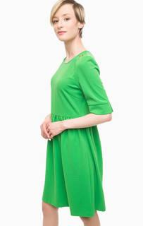 Зеленое платье с короткими рукавами Pois