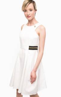 Приталенное платье и хлопка белого цвета Pois