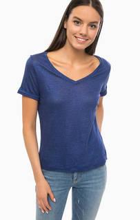 Синяя футболка с треугольным вырезом Armani Jeans