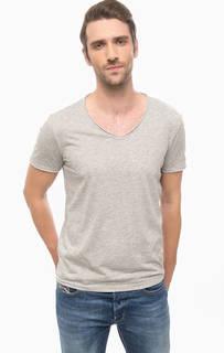 Серая футболка с треугольным вырезом Mavi