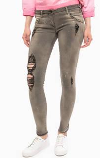 Зауженные серые джинсы с ярким принтом MET