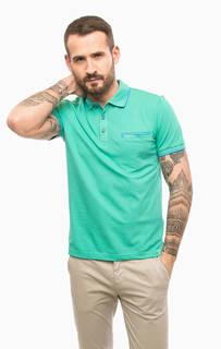 Зеленая хлопковая футболка поло Pierre Cardin
