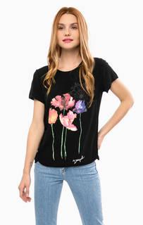 Черная футболка из вискозы с контрастным принтом Desigual