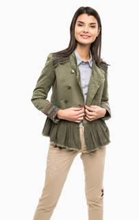 Хлопковая куртка цвета хаки с отделкой бисером Desigual