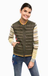 Куртка цвета хаки с вязаными рукавами Desigual