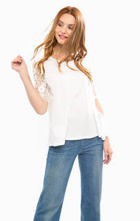 Трикотажная футболка с кружевными рукавами Desigual