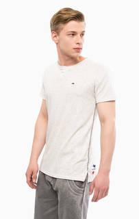 Серая футболка с круглым вырезом Hilfiger Denim