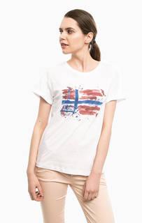 Белая футболка из хлопка с принтом Napapijri