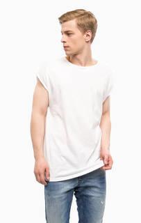 Белая хлопковая футболка с круглым вырезом Drykorn