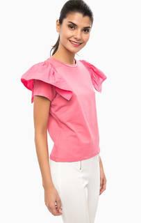 Розовая футболка с оборками на рукавах Pinko